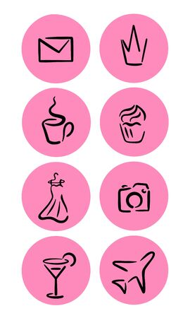 Highlights icon. Stories Covers abstract Icons. Set of eight pink vector icons for a fashion blogger