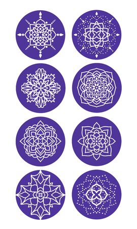 Highlights icon. Stories Covers abstract Icons. Set of eight purple vector icons with different mandalas. Illustration