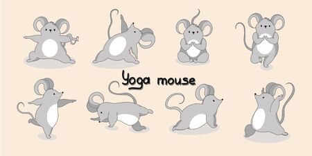 Cute gray mice in different yoga poses. Vector illustration with the inscription yoga mouse, with the symbol of 2020