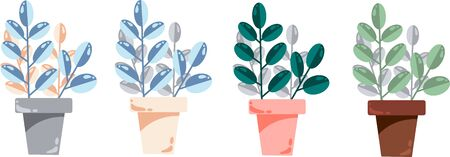 Set of pots with plants of different colors. Vector illustration Illustration