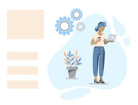A woman in a suit with a laptop and a glass of coffee on an abstract background. Board for advertising and business records. A pot of flowers and gears. Vector illustration Ilustrace