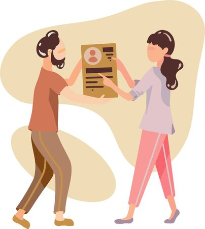 A woman and a man choose the interface for the site. Business vector illustration. Example of teamwork in a company Illustration