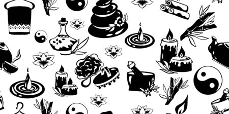 Vector pattern with spa icons. Logo for health centers and beauty salons