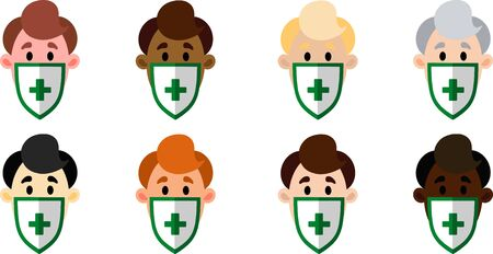 A set of men of different nationalities in medical masks. Vector illustration. People Icon Set  イラスト・ベクター素材