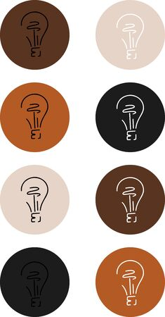 Vector illustration with icons for invitations or social networks.Highlights cover icons with lamp Ilustrace