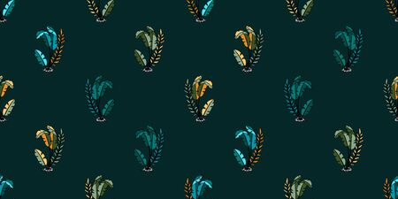 Seamless pattern with tropical leaves on a colourful background, vector illustration