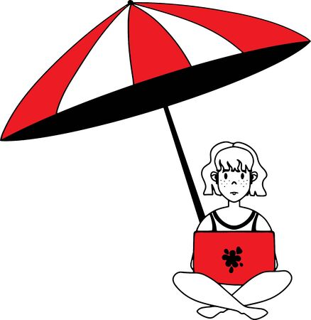 Freelancer woman on the beach with a laptop working remotely. Business illustration for modern advertising of remote work. Vector flat illustration