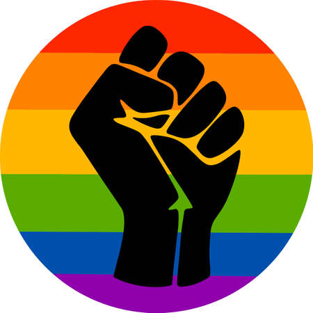 Symbol of the LGBT community, a fist in a rainbow circle.