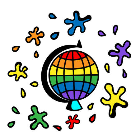 Colored rainbow globe icon and blots around it. LGBT people of color on the globe. Vector flat illustration in the Doodle style.