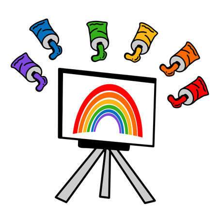 Art easel with a painted rainbow.Vector illustration in the Doodle style.