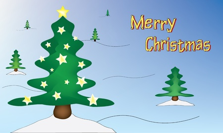 largest tree: Christmas trees placed in space. The largest tree is decorated with stars. The colours illustration is labeled Merry Christmas.