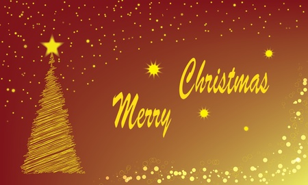 Christmas tree made of braided lines and a star tip. Around the tree are like stars in the sky. The inscription Merry Christmas. Shaded transitions. photo