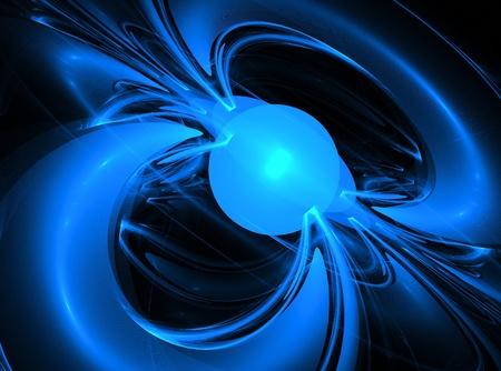 magnetismo: El campo magnético se muestra como líneas de fuerza en todo el mundo. Creado fractales. Foto de archivo