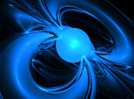 magnetism: The magnetic field shown as lines of force around the globe. Created fractals.