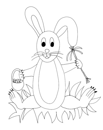 Hand drawn rabbit with easter basket and easter hymns. Sitting on the grass. Vector