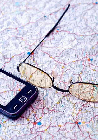 Mobile GPS and map close up Stock Photo