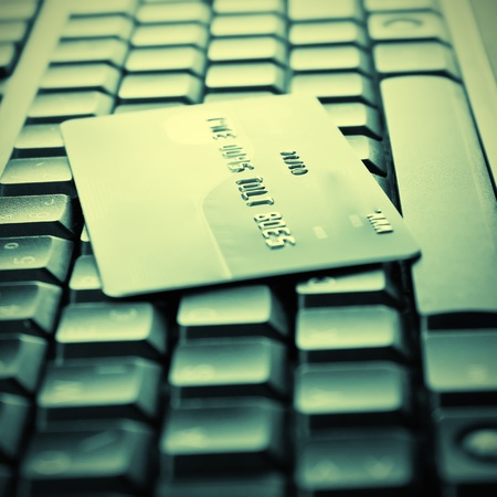 Credit cards on the keyboard,close up photo photo
