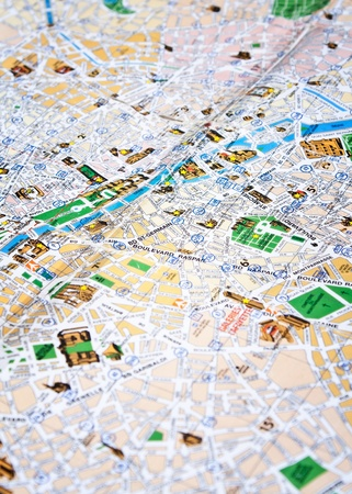 close up photo of map of Paris photo