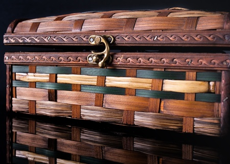colorful wooden jewelry box over black background Stock Photo - 11514671