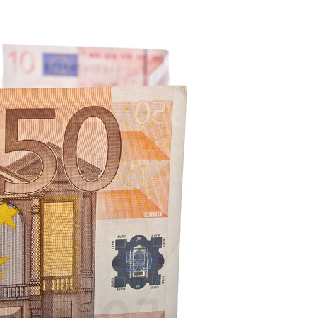 euromoney: 50 euro bill close up photo