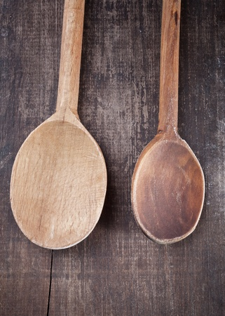 wooden spoons on a wooden table photo