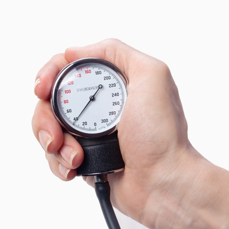 close up view of a sphygmomanometer in hand photo