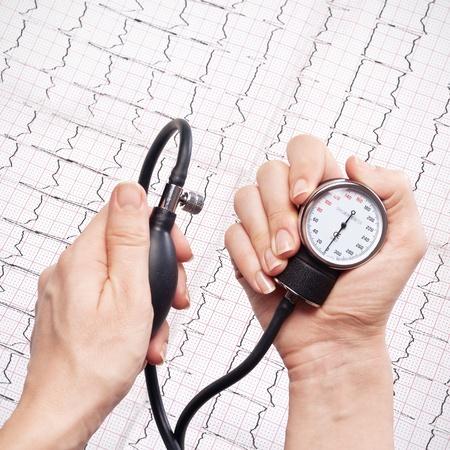 blood pressure gauge in the hands,ecg as background