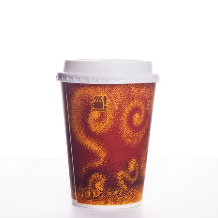 Cup of take-out coffee on a white background Stock Photo