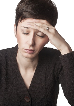 close up photo of woman having head ache Stock Photo