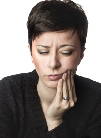 toothache: close up photo of beautiful woman having toothache