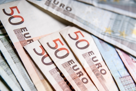 financial item: Lots of Fifty euro banknotes