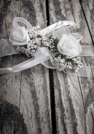 Wedding accessories on  old wooden plank Stock Photo