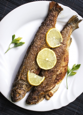 Grilled trout on white plate with lemon pieces photo
