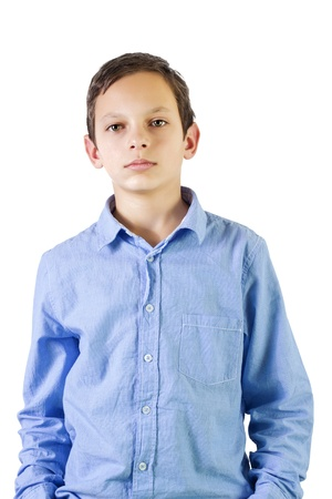 Preteen boy portrait over white background photo