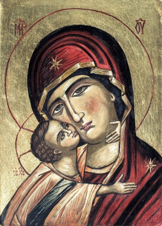god icon:  baby Jesus Christ and Virgin Mary,This image is taken from a church wall several hundred years old and is not subject to copyright  Stock Photo