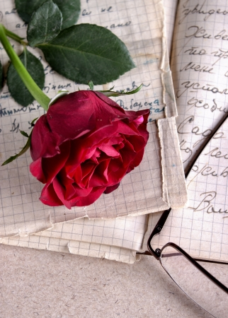 Red Rose on Old Paper.Love Letter photo
