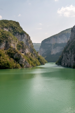 visegrad: View on Drina river in big valley - Bosnia and Herzegovina.