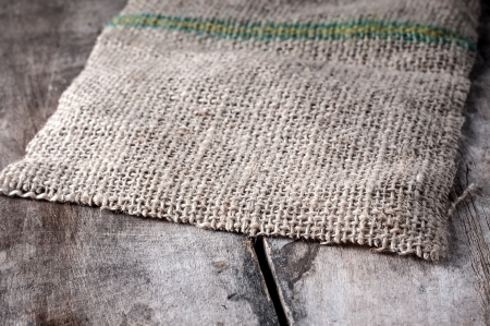 fibra: light natural linen texture on old table Stock Photo