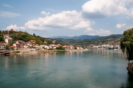 visegrad: View on Drina river, city of Visegrad,  Bosnia Stock Photo