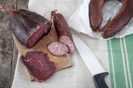 veal sausage: Homemade natural veal dried meat  and sausage