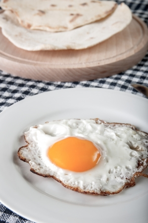 fried egg on plate on checkered tablecloth, close up photo