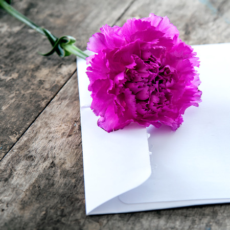 Love letter and  purple carnation  on wooden table