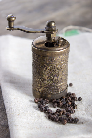 Old Pepper grinder mill with different dried peppers Reklamní fotografie