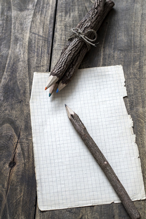 bark carving: bark covered  pencils  on old paper, from above