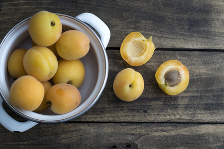 freshly: Freshly Picked Apricots on wooden background, from above