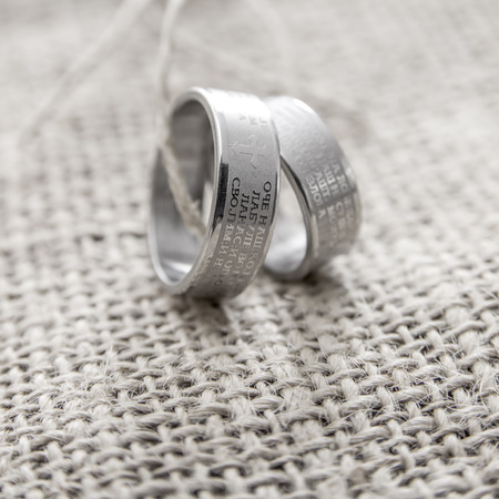 lord's: Wedding rings Engraved With The Lords Prayer In Serbian