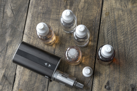 refill: e-cigarettes with different re-fill bottles,from above