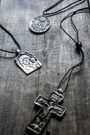 coulomb: Handcrafted  jewelry religious concepts, focus on background