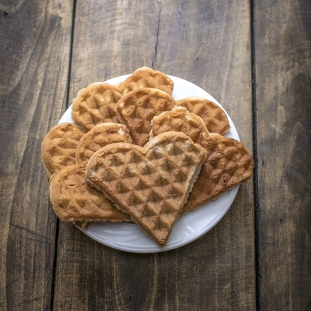 shaped: Heart shaped waffles on the plate, from above