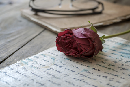 Rose laying on top of a love letter, close up Standard-Bild